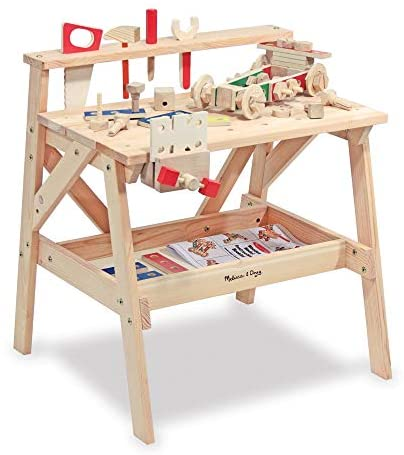 Melissa & Doug Wooden Project Solid Wood Workbench, (E-Commerce Packaging, Great Gift for Girls and Boys – Best for 3, 4, 5, and 6 Year Olds)