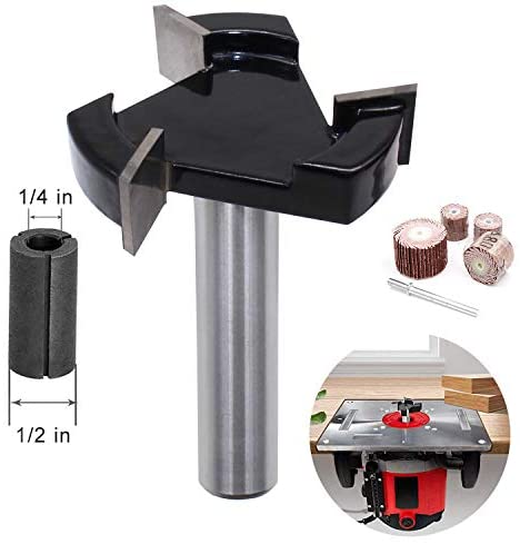 CKE CNC Spoilboard Surfacing Router Bits, 1/2 inch Shank 2 inch Cutting Diameter, Slab Flattening Router Bit Planing Bit Wood Milling Cutter Planer Woodworking Tool