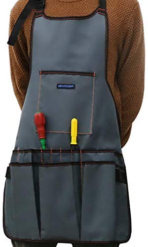 BHTOP Work Apron Heavy Duty Waxed Canvas Tool Apron with 16 Pockets Adjustable M to XXL for Men & Women