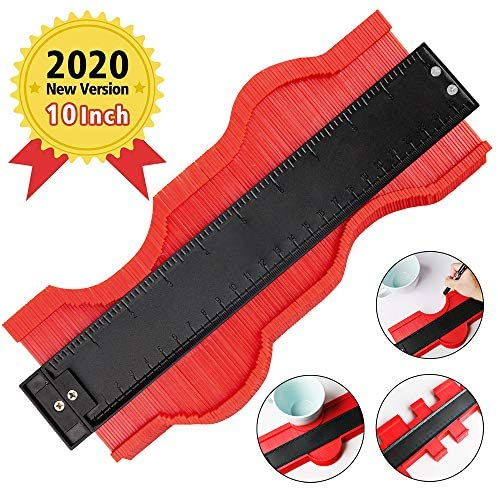 HomeMall 10 Inch Contour Gauge Duplicator Template Tool, Plastic Profile Gauge Shape Copying Measure Tool for Precise Copies Irregular and odd Shapes (Red)